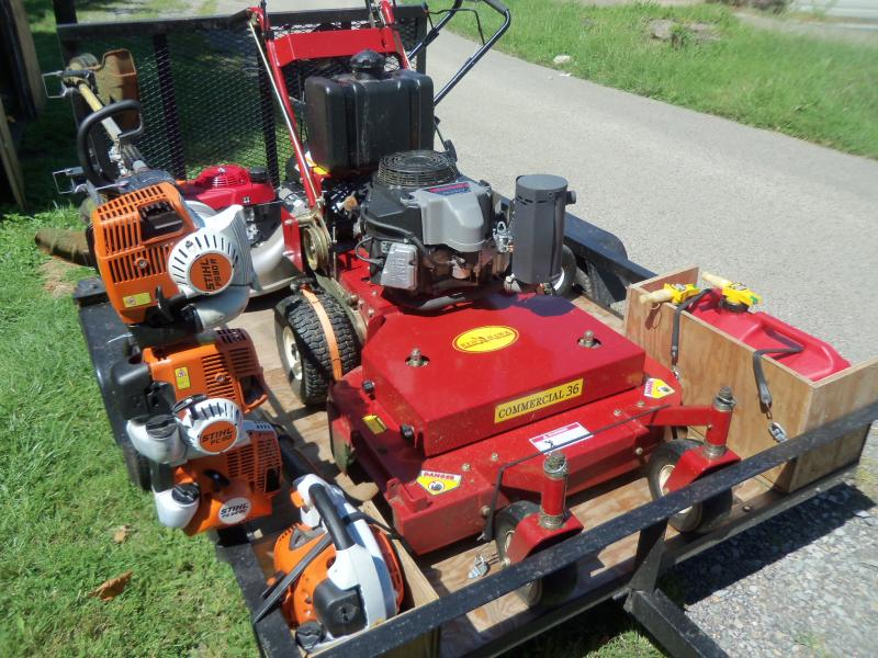 Landscaping Gas Tools : Efficiency mowing setup small truck trailer with pics