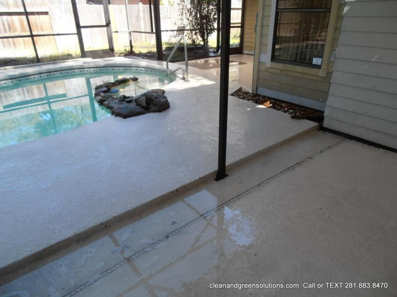 What can you use to clean a Cool Deck around a pool?