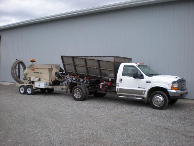 Trucks With Blowers : Bark blower and mulch truck lawnsite