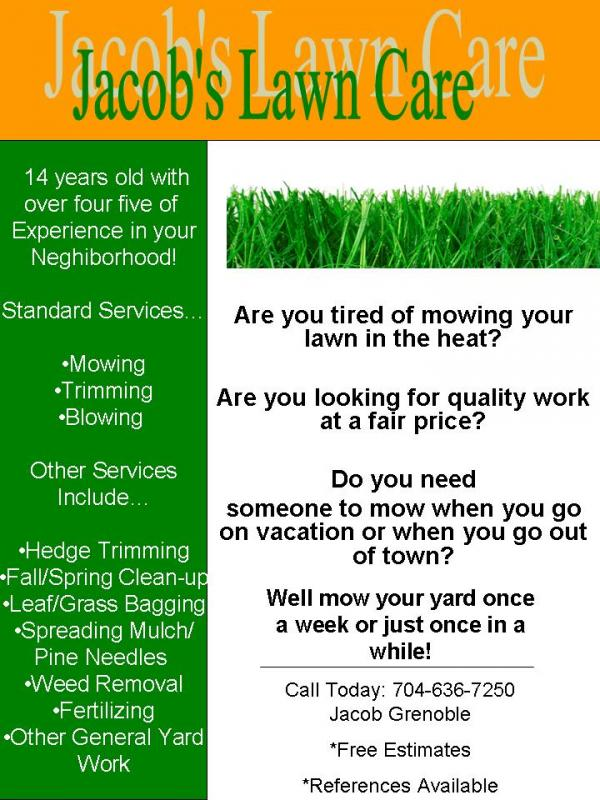 My lawn care flyer what do you think lawnsite for Lawn care flyer template free